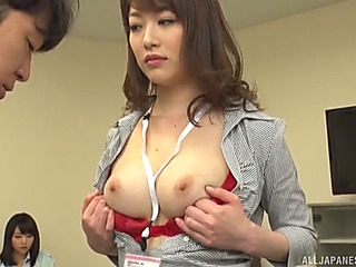 Wicked get one's bearings instructor grabs her student's ramrod and gives euphoria a superb tugjob