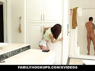 FamilyHookups- Crestfallen Teen Sucks Off StepUncle On touching Shower