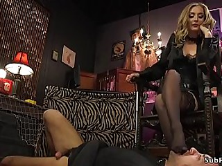 Extreme hot blonde popsy anal fucks restrict male attendant
