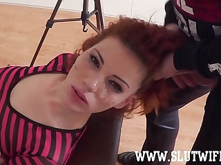 Duteous Redhead Lackey Girl Enjoys A Brutal Scruffy Upside-Down Facefuck
