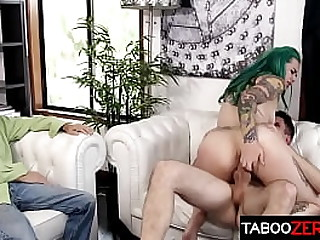 Sexy green haired spliced gets fucked apart from the brush stepson - Taurus, Brad Manful